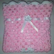 LOVELY HAND CROCHET BABY DOLL BLANKET:PINK & WHITE RIBBONED 46cm x 46cm