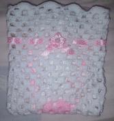 LOVELY HAND CROCHET BABY DOLL BLANKET:WHITE & PINK RIBBONED 46cm x 46cm