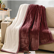 "Coral fleece Solid Polyester Cotton Blend Blankets , w59"" x l79"""