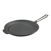 Carl Victor 28 cm Pre-Seasoned Cast Iron Griddle Pan With Stainless Steel Handle, Black