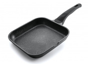 Lacor Eco-Piedra Square Flat Grill Pan, 28 x 28 cm, Black