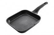Lacor Eco-Piedra Square Flat Grill Pan, 24 x 24 cm, Black