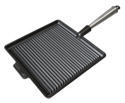 Carl Victor Cast Iron Square Griddle Pan 28cm Pre-Seasoned with Stainless Steel Handle