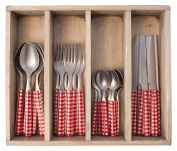 Provence Chequered Dinner Cutlery Set in Tray, Stainless Steel, Red, 33.5 x 29.5 x 6.5 cm
