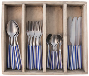 Provence Stripes Dinner Cutlery Set in Tray, Stainless Steel, Blue, 33.5 x 29.5 x 6.5 cm