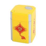 DealMux Plastic Flower Pattern Household Rectangular Shape Automatic Toothpick Holder Case Yellow