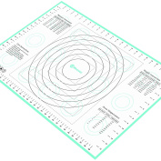 Pastry Mat X-Large 70cm x 43cm Blue, with Measurements and Conversion Charts, Professional Size, Non-Stick Non-Slip, Extra-Large Silicone Fondant Mat for Rolling Dough