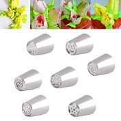 Raza Kitchen 7Pcs/lot Russian Tulip Nozzle Perfect For Cake Cupcake Decorating Icing Piping Nozzles Russian Rose Nozzles Tips