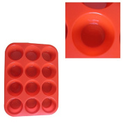 Broilmann 12 Cup Silicone Muffin - Cupcake Baking Pan / Non - Stick Silicone Mould / Dishwasher - Microwave Safe