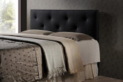 Contemporary Queen Size Headboard in Black PU Leather