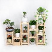 Solid Wood Floor-type Flower Racks Bonsai Frame Multi-function Shelves Living Room Balcony LH
