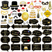30th Birthday Party Photo Booth Props (57Pcs) for Her Him Dirty Thirty 30th Birthday Gold and Black Decorations, Konsait Big 30 Birthday Party Supplies for Men and Women