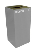 Witt Industries 32GC04-SL GeoCube Recycling Receptacle with Combination Slot/Round Opening, Steel, 121.1l Slate
