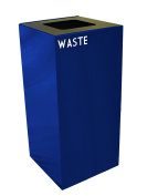 Witt Industries 32GC03-BL GeoCube Recycling Receptacle with Waste Opening, Steel, 121.1l Blue