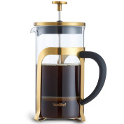 VonShef Premium 8 Cup Glass/Gold Stainless Steel Heat Resistant French Press Cafetiere Coffee Maker - 1 Litre
