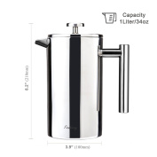 FINNHOMY French Press Coffee Maker, Stainless Steel Double Wall, 8 Cup Coffee Press Pot,1010ml 1 Litre