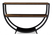 Rustic Industrial Metal Console Table in Black/Brown