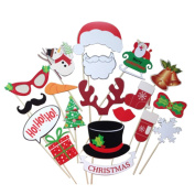 Christmas Photo Booth Props, Outgeek 19Pcs Xmas Props Moustache Glasses Hat Christmas Party Favours Costume Props Kit