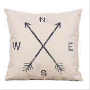 Pillow Case Black and White Arrows Pattern Cotton Linen Printed Pillow Covers