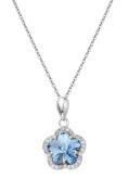 Fei Liu Radiance Blue Crystal Flower Pendant on a Chain of 40cm