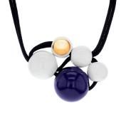 Marion Vidal Gela White, Blue and Golden Enamelled Ceramic Necklace of 48cm