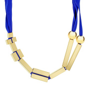 Marion Vidal Cherry Tree Blue Polyester Ribbon Necklace of 53cm