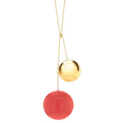 Marion Vidal Tac Tac Red and Golden Ceramic Pendant with Chain of 65cm
