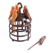 DealMux Plastic Birds Cage Shape Fruit Fork Holder Dessert Cake Forks Set Brown