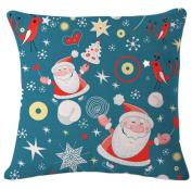 Vi.yo Vi.yo Throw Pillow Case Christmas Theme Cotton Blend Linen Cushion Pillow Case Square Cushion Cover for Sofa Bedroom Home Decor 46cm x 46cm