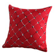 Ruikey Pillow Cases Embroidered Plaid Woven Cloth Sofa Waist Car Cushion Covers for Home Decoration ,43 × 43 cm