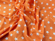 1 Fat Quarter | Bright Orange Polycotton With White Stars Quality Fabric . 25mm Stars Japanese Qkt 4000 Poly Cotton Material Neon Orange Colour Colour Dressmaking Shirts Clothes Crafts