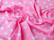 1 Fat Quarter | Bright Pink / Neon Pink Polycotton With White Stars Quality Fabric . 25mm Stars Japanese Qkt 4000 Poly Cotton Material Pink Colour Colour Dressmaking Shirts Clothes Craft