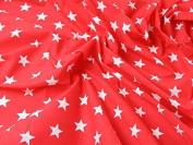 1 Fat Quarter | Red Polycotton With White Stars Quality Fabric . 25mm Stars Japanese Qkt 4000 Poly Cotton Material Bright Red Colour Colour Dressmaking Shirts Clothes Crafts