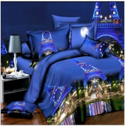 3D Bedding Set 4 Pcs/Set Eiffel Tower Pattern King And Queen Size