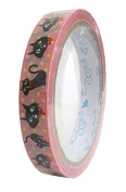 Cute Deco Tape pink with black cat light yellow dot