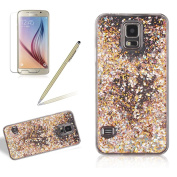 Crystal Clear Hard Case For Samsung Galaxy S5, Girlyard Water Flowing Bling Case Glitter Sparkle Diamond Gold Leaf Pattern Cover Luxury Stars Hourglass Back Case Cover [Free Screen Protector], Gold