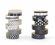 Black and White Washi Tape, Diy 15mm × 10m Decorative Masking Tape, Deco Masking Japanese Paper Washi Tape for Crafts, Scrapbooks, Day Planners, Decorating and Design, Set of 12 Rolls