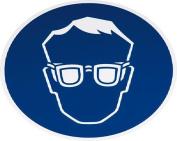 smartboxpro 245133405 Mandatory Sign – Eye Protection Use, diam. 20 cm, Blue/White