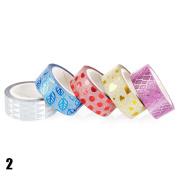RUNGAO 5pcs DIY Self-adhesive Glitter Washi Paper Tape Sticker Wedding Birthday Festival Decoration Pattern