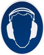 smartboxpro 245133505 Mandatory Sign – Ear Protection Use, diam. 20 cm, Blue/White