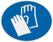 smartboxpro 245133605 Mandatory Sign – Protective Gloves Use, diam. 20 cm, Blue/White