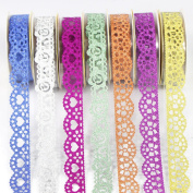 UOOOM 7 rolls Lace Tape Glitter Hollow Decorative Adhesive Masking Tape for Scrapbooking DIY Craft Gift