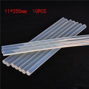 10pcs Hot Melt Glue Stick DIY Super Stick Glue Brute Force Translucence White 11x250mm