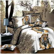 3D Bedding Set 4 Pcs/Set White Tiger Pattern King And Queen Size