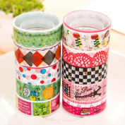 SevenMye 10 Pcs Washi Paper Scrapbooking Decorative Sticker Masking Adhesive Tape Roll