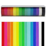 EDGEAM Washi Tape Set of 15 Paper Rainbow Decorative Sticker Adhesive Tape 12mm x 8m
