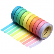 Cosanter 10x Decorative Rainbow Sticky Paper Masking Adhesive Tape Scrapbooking DIY for Party Office