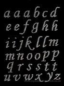 37 X abc AB CLEAR Stick On Diamante Gems Self Adhesive Letters Alphabet Rhinestones