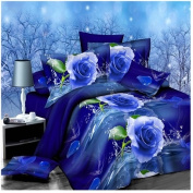 3D Bedding Set 4 Pcs/Set Blue Flowers Pattern King And Queen Size
