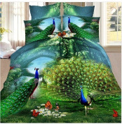 3D Bedding Set 4 Pcs/Set Peacock Pattern King And Queen Size
